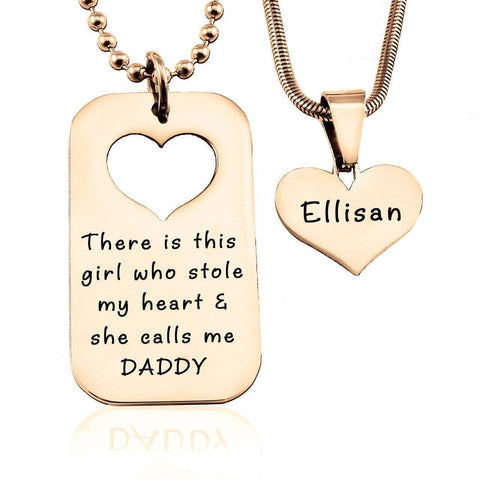 Dog Tag Stolen Heart - Two Necklaces-Rose Gold- BELLE FEVER Personalised Jewellery