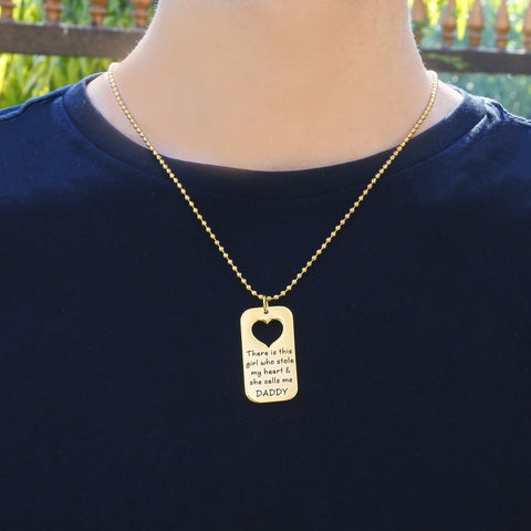 Dog Tag Stolen Heart - Two Necklaces-Silver- BELLE FEVER Personalised Jewellery