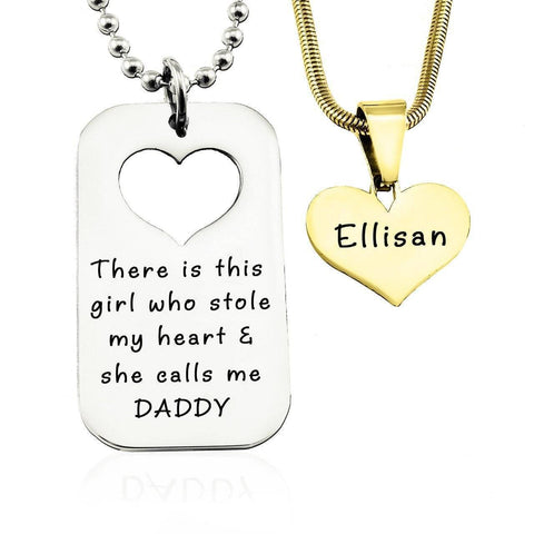Dog Tag Stolen Heart - Two Necklaces-Two Tone Gold- BELLE FEVER Personalised Jewellery