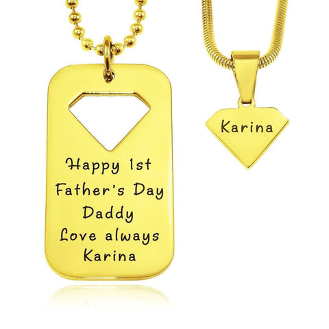 Dog Tag Superman - Two Necklaces-Gold- BELLE FEVER Personalised Jewellery