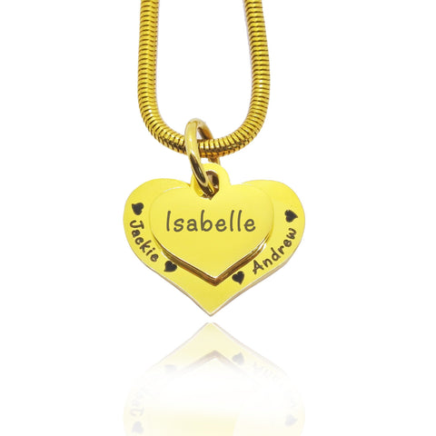 Double Heart Necklace-Gold- BELLE FEVER Personalised Jewellery
