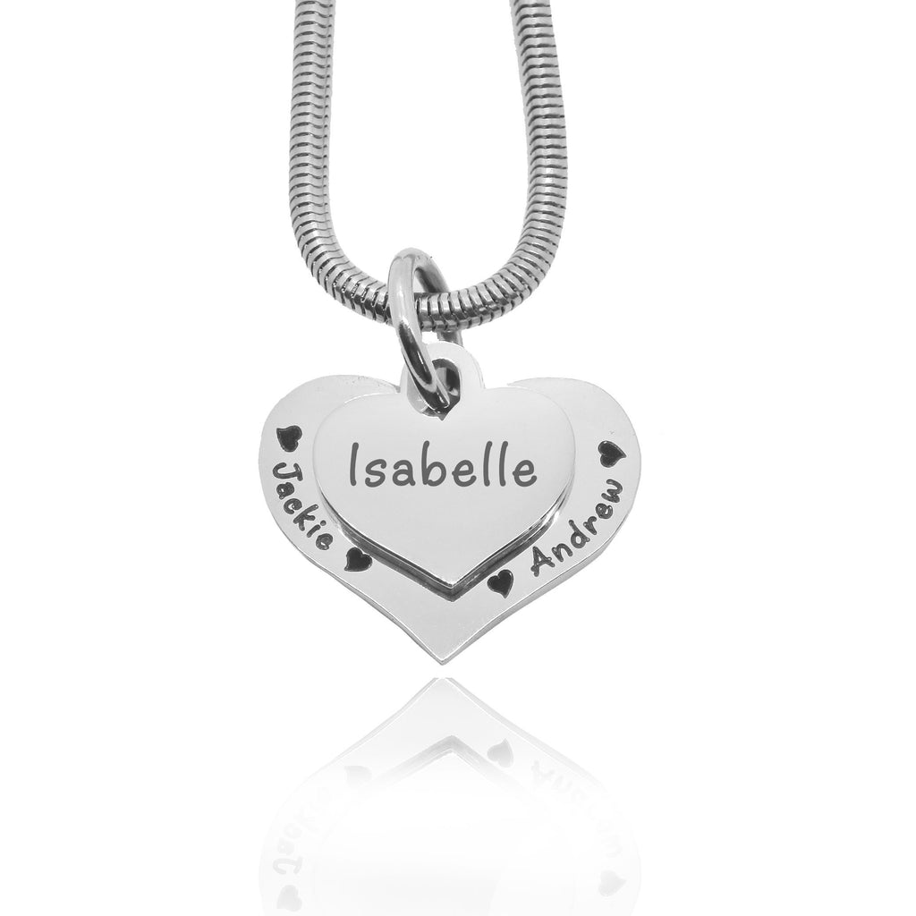 Double Heart Necklace-Silver- BELLE FEVER Personalised Jewellery