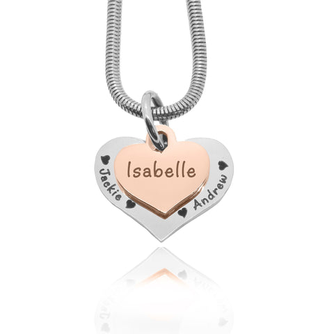 Double Heart Necklace-Two Tone Rose Gold- BELLE FEVER Personalised Jewellery