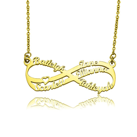 Double Infinity Name Necklace-Gold- BELLE FEVER Personalised Jewellery