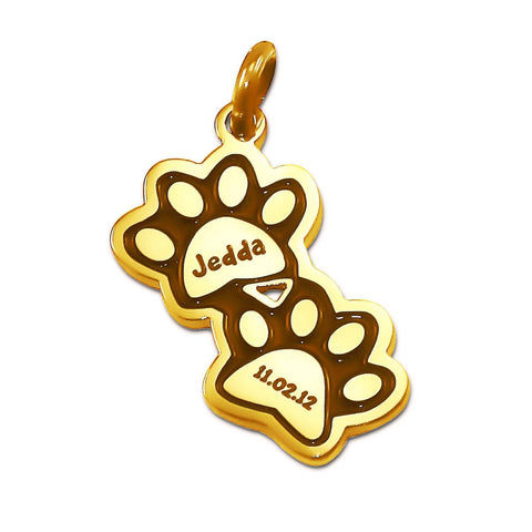 Double Mini Paw Prints Charm for Keyring-Gold- BELLE FEVER Personalised Jewellery