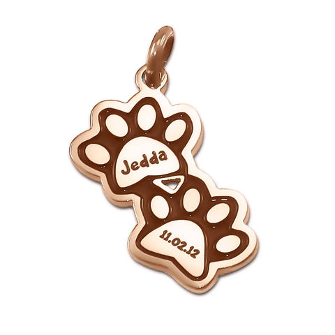 Double Mini Paw Prints Charm for Keyring-Rose Gold- BELLE FEVER Personalised Jewellery
