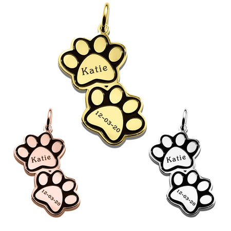Double Paw Prints Charm for Keyring-Silver- BELLE FEVER Personalised Jewellery