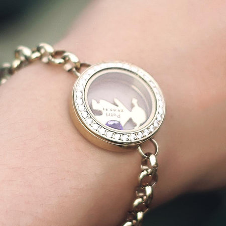 Dream Locket Bracelet-Medium 30mm-Gold- BELLE FEVER Personalised Jewellery