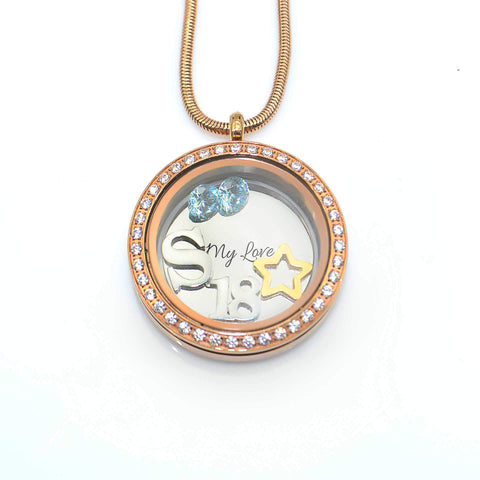 Dream Locket Necklace-Medium 30mm-Silver- BELLE FEVER Personalised Jewellery