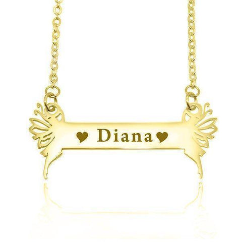 Fairy Name Bar Necklace-Gold- BELLE FEVER Personalised Jewellery