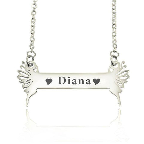 Fairy Name Bar Necklace-Silver- BELLE FEVER Personalised Jewellery