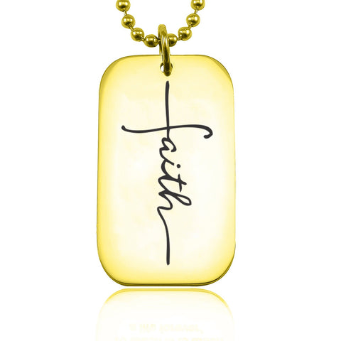 Faith Dog Tag Necklace-Gold- BELLE FEVER Personalised Jewellery