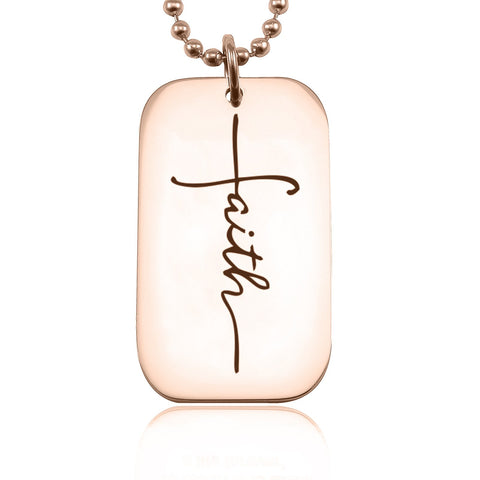 Faith Dog Tag Necklace-Rose Gold- BELLE FEVER Personalised Jewellery