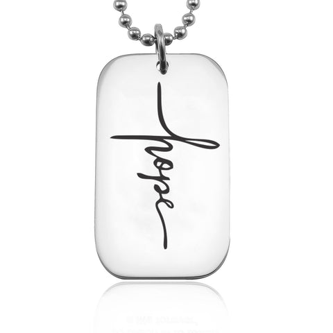 Faith Dog Tag Necklace-Silver- BELLE FEVER Personalised Jewellery