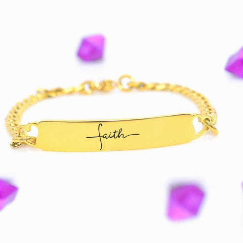 Faith Heart Tag Bracelet-Silver- BELLE FEVER Personalised Jewellery