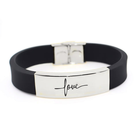 Faith Silicon Bracelet-Silver- BELLE FEVER Personalised Jewellery