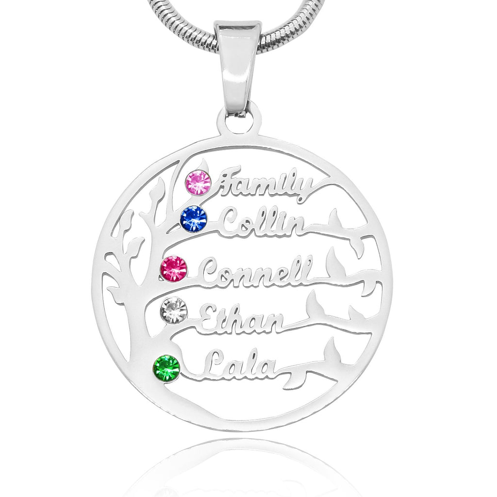 Family Tree Name Necklace (Birthstones Optional)-Silver- BELLE FEVER Personalised Jewellery