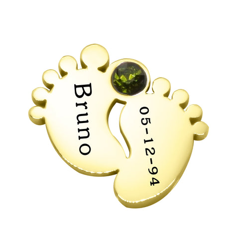 Feet Birthstone Charm for Dream Locket-Gold- BELLE FEVER Personalised Jewellery