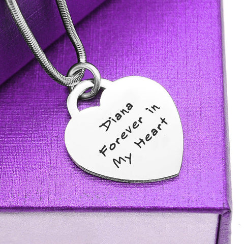 Forever In My Heart Handwriting Necklace-Silver- BELLE FEVER Personalised Jewellery
