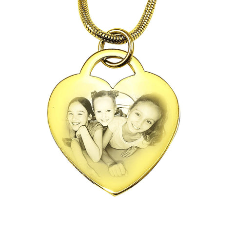 Forever in My Heart Photo Necklace-Gold- BELLE FEVER Personalised Jewellery