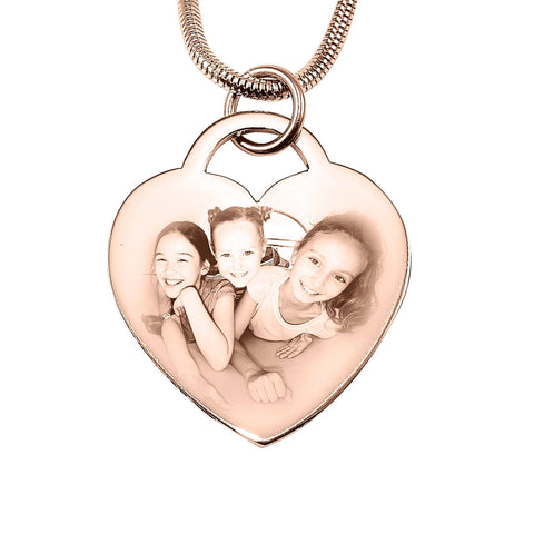 Forever in My Heart Photo Necklace-Rose Gold- BELLE FEVER Personalised Jewellery