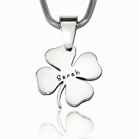 Four Leaf Clover Necklace-Silver- BELLE FEVER Personalised Jewellery