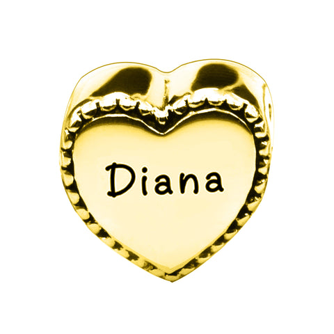 Framed Heart Personalised Charm for Moments Bracelet-Gold- BELLE FEVER Personalised Jewellery