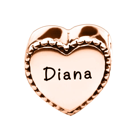 Framed Heart Personalised Charm for Moments Bracelet-Rose Gold- BELLE FEVER Personalised Jewellery