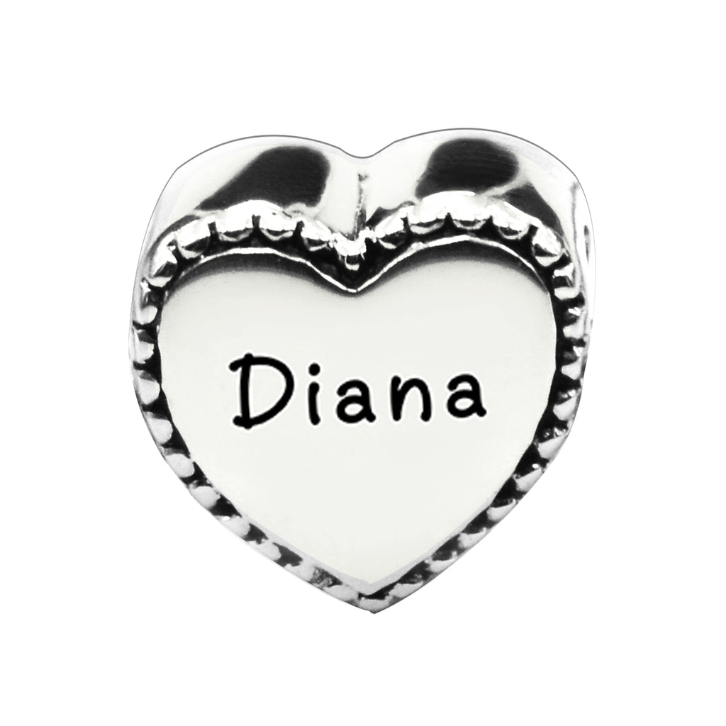 Framed Heart Personalised Charm for Moments Bracelet-Silver- BELLE FEVER Personalised Jewellery