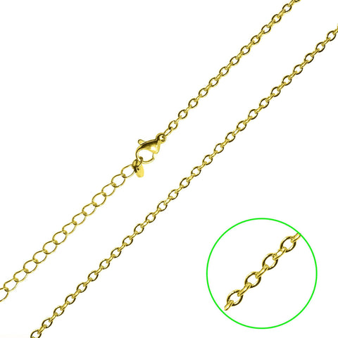 Full Link Chain-45CM LINK CHAIN WITH EXTENSION TO 50CM-Gold- BELLE FEVER Personalised Jewellery