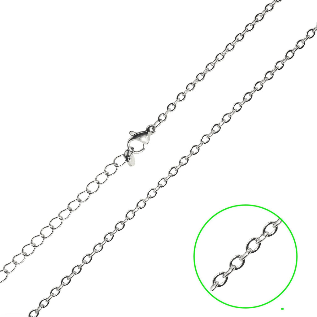 Full Link Chain-45CM LINK CHAIN WITH EXTENSION TO 50CM-Silver- BELLE FEVER Personalised Jewellery
