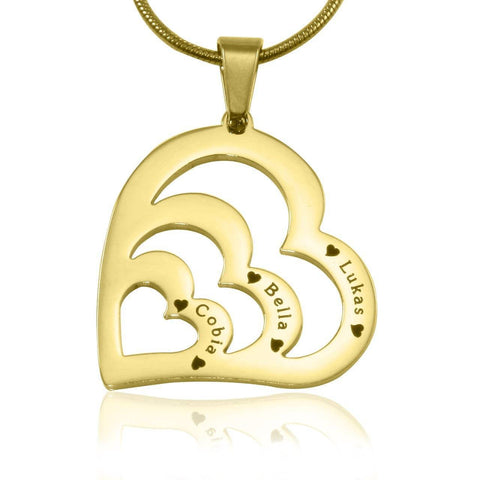 Hearts of Love Necklace-Medium-Gold- BELLE FEVER Personalised Jewellery