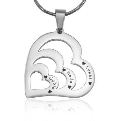 Hearts of Love Necklace-Medium-Silver- BELLE FEVER Personalised Jewellery