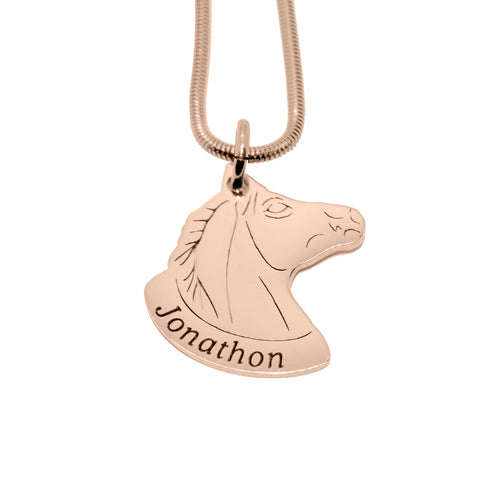 Horse Head Name Necklace-Rose Gold- BELLE FEVER Personalised Jewellery