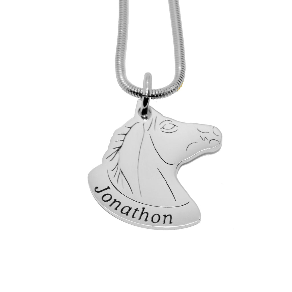 Horse Head Name Necklace-Silver- BELLE FEVER Personalised Jewellery