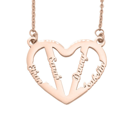 In My Heart Name Necklace-Rose Gold- BELLE FEVER Personalised Jewellery