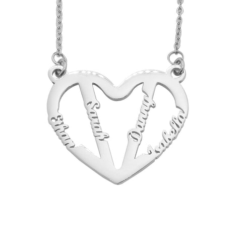 In My Heart Name Necklace-Silver- BELLE FEVER Personalised Jewellery