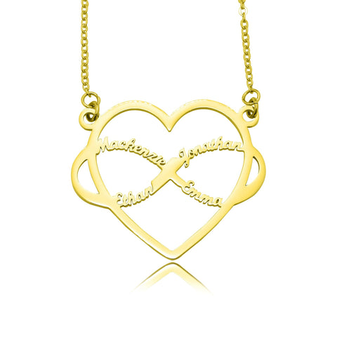 Infinite Love Heart Name Necklace with Birthstones-Gold- BELLE FEVER Personalised Jewellery