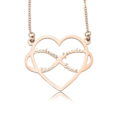 Infinite Love Heart Name Necklace with Birthstones-Rose Gold- BELLE FEVER Personalised Jewellery