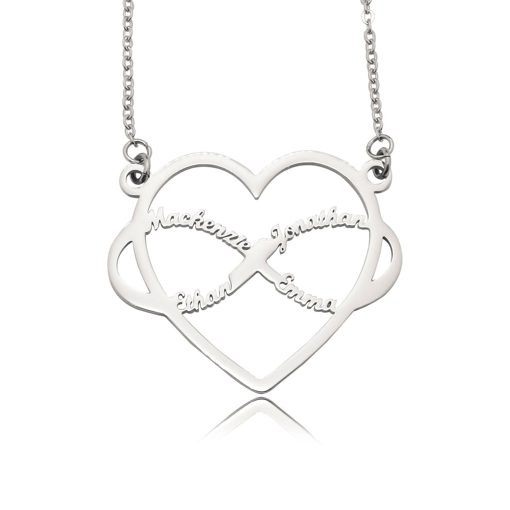 Infinite Love Heart Name Necklace with Birthstones-Silver- BELLE FEVER Personalised Jewellery