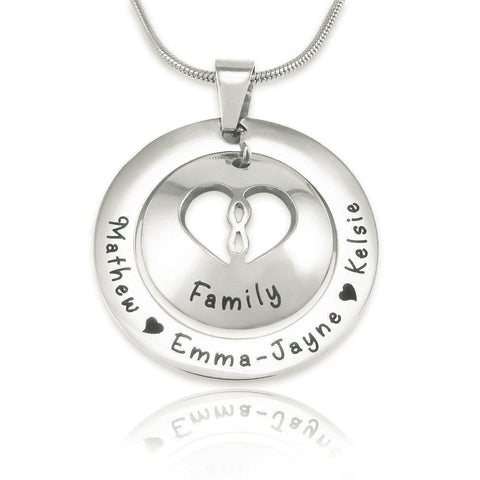 Infinity Dome Necklace-Silver- BELLE FEVER Personalised Jewellery