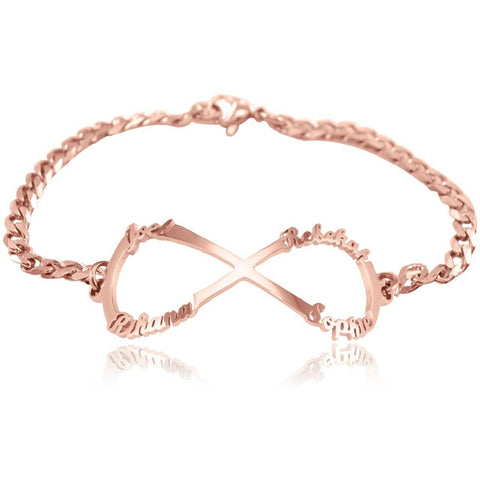 Infinity Name Bracelet-Rose Gold- BELLE FEVER Personalised Jewellery