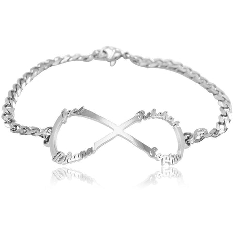 Infinity Name Bracelet-Silver- BELLE FEVER Personalised Jewellery