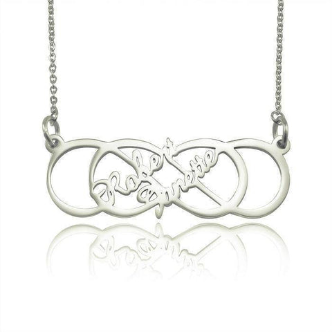 Infinity X Infinity Name Necklace (Birthstones Optional)-Silver- BELLE FEVER Personalised Jewellery