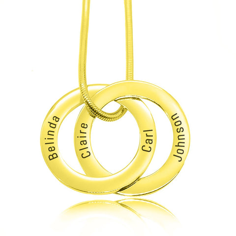 Interlinked Russian 2 Rings Necklace-Gold- BELLE FEVER Personalised Jewellery