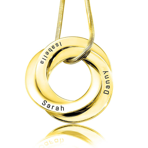 Interlinked Russian Rings Necklace-Gold- BELLE FEVER Personalised Jewellery