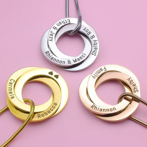 Interlinked Russian Rings Necklace-Silver- BELLE FEVER Personalised Jewellery