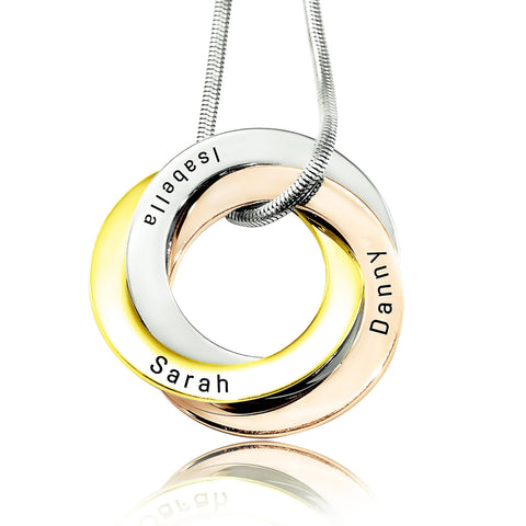 Interlinked Russian Rings Necklace-Three Tone- BELLE FEVER Personalised Jewellery