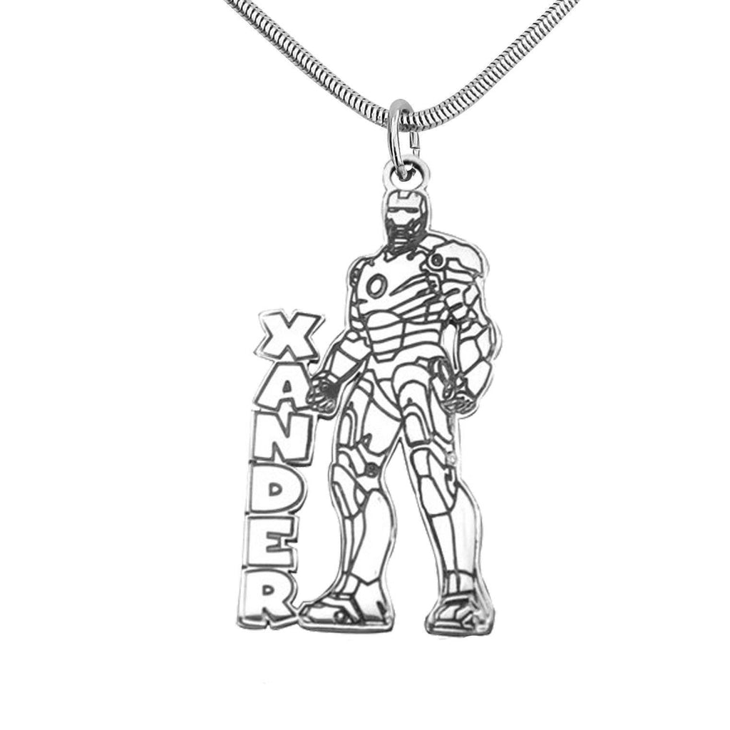 Ironman Name Necklace-Silver- BELLE FEVER Personalised Jewellery