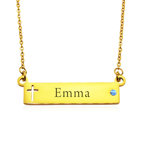 Jess Bar Cross Name Necklace-Gold- BELLE FEVER Personalised Jewellery